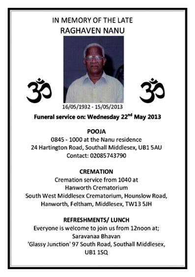 Raghaven Nanu passed away