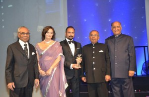 Hinduja Brothers receiving the lifetime achievement award in London. Along with Hinduja Brothers on the picture are Cherie Blair, Subaskaran Allirajah and ABPL Editor CB Patel.
