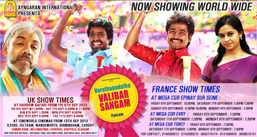 Tamil Movie Varuthapadatha Valibar Sangam UK Europe Release Details by Anygaran International