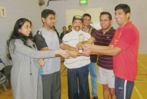 Kerala Association of Bradley Stoke & South Glos- Badminton Runner's Up Trophy presentation 2013