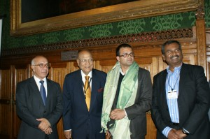 From L-R: Mr Virendra Sharma MP, Lord Paul, Sujit, Jacob Ravibalan