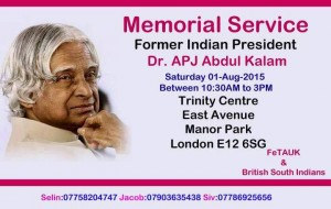 APJ Abdul Kalam - Memorial Service London
