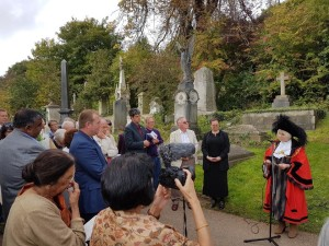 Bristol Lord Mayor Leslie Alexander addresses the gathering at the commemoration service of Ram Mohan Roy in Bristol