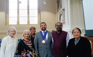 Indian High Commission Minister AS Rajan, Bristol Bradley Stoke Dy Mayor Tom Aditya and, Historian Carla Contractor along with Brahma Samaj members